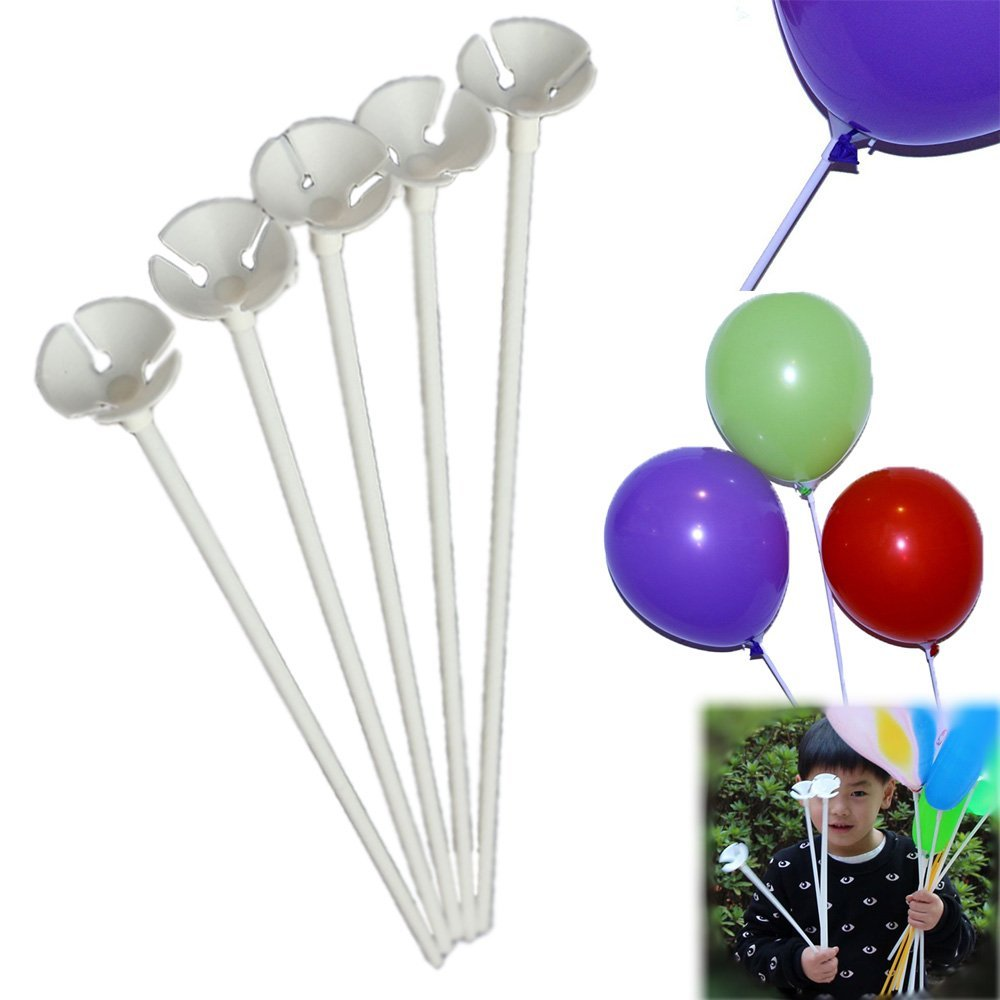 Dazzling Toys 144 Pcs Plastic White Balloon Sticks with Cup Party Decor