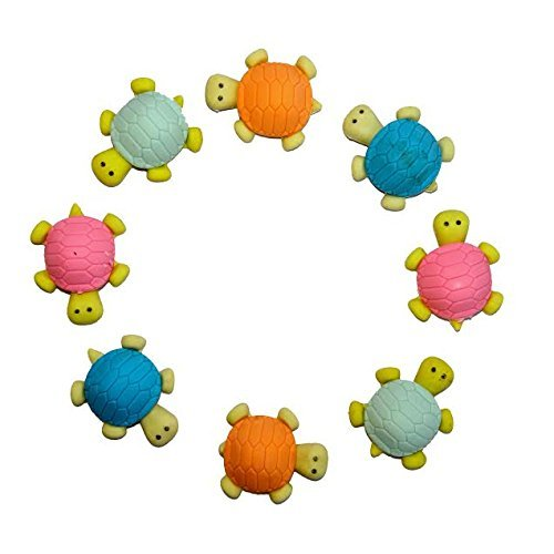 dazzling toys Adorable Turtle Erasers - Set Include 12 Erasers