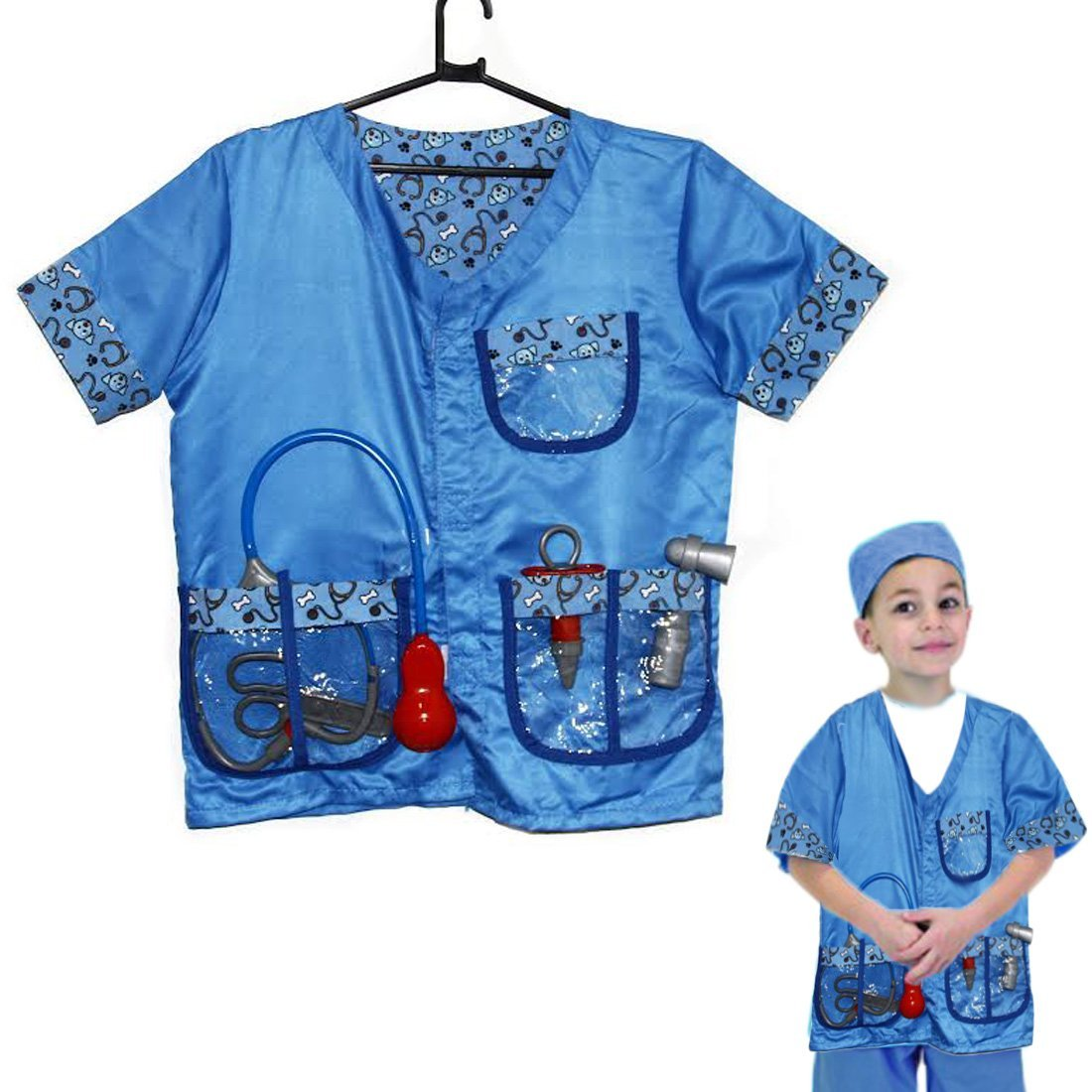Dazzling Toys Christmas Costume Set Kids Pretend Play Veterinarian Costume Set with Accessories