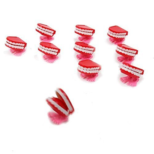 Dazzling Toys Wind-up Walking Babbling Teeth 6 Pack