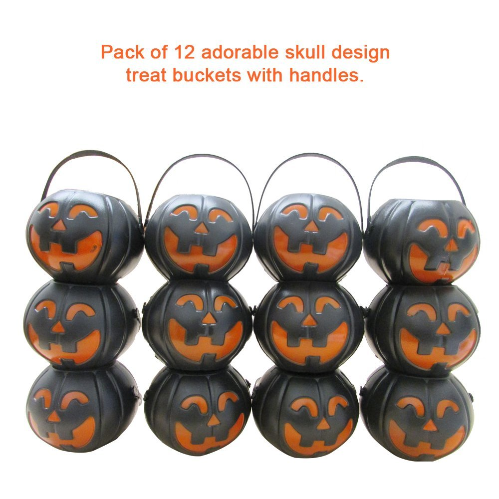 dazzling toys Black Candy Holder with Orange Pumpkin | Candy Holder with Handle | Mini Trick-or-Treat Halloween Candy Jar | 24pack