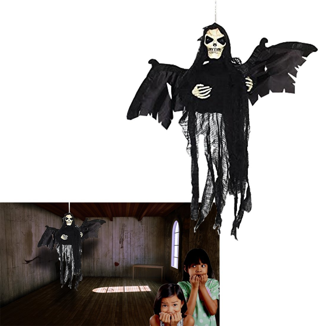 Flying Ghost |  Hanging Floating Skeleton Ghost | Halloween Decoration Shaking Ghost | Dazzling Toys