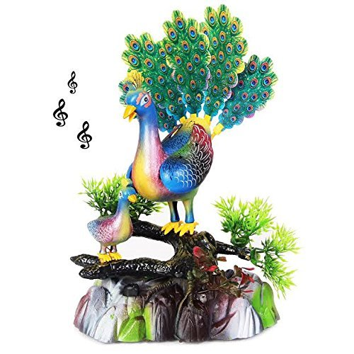 Singing and Dancing Peacock Party Favor Figurine | Decorative Party Centerpiece Dance and Song Bird for Festive Occasions | Birthdays | Graduations | Battery Operated Dazzling Toys Singing Bird.
