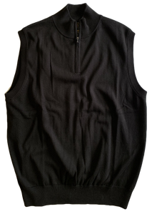 Black Zip Mock Vest