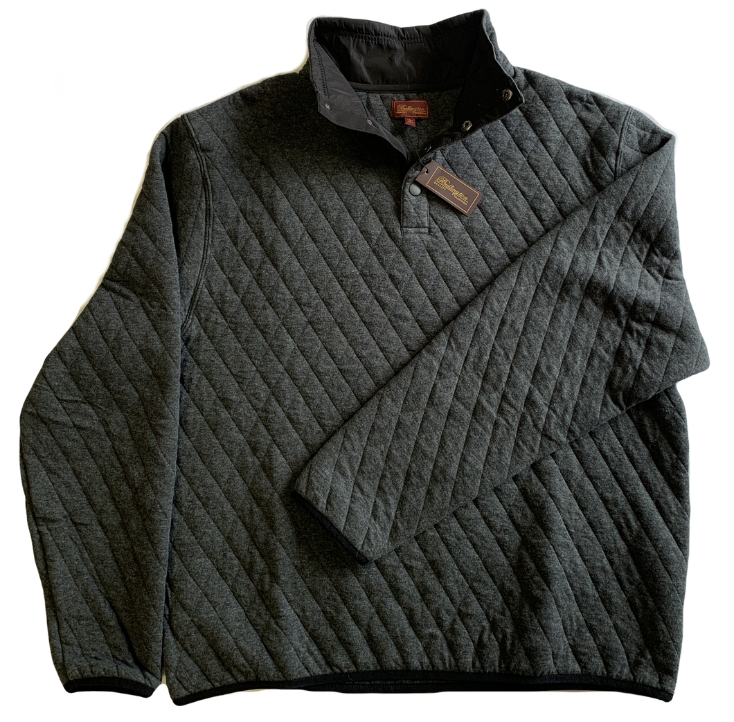 Gray Quilted Button Mock Sweatshirt