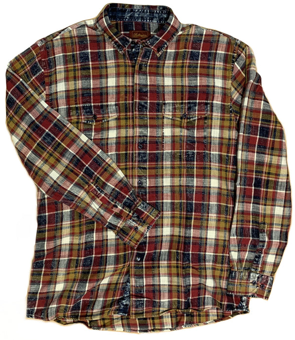 LONG-SLEEVE SNOW WASHED MULTI-PLAID FLANNEL