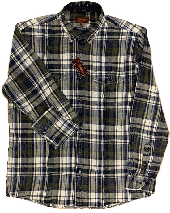 LONG-SLEEVE SNOW WASHED OLIVE/NAVY FLANNEL