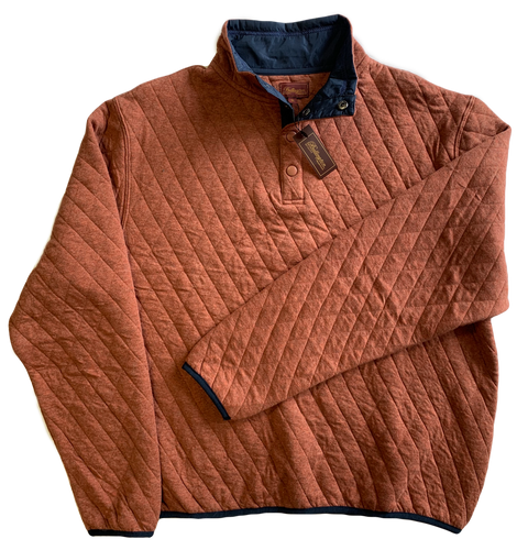 Rust Quilted Button Mock Sweatshirt