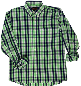 LONG-SLEEVE BLUE/GREEN CHECKERED COTTON BLEND