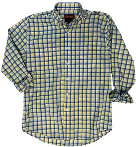 LONG-SLEEVE BLUE/YELLOW CHECKERED COTTON BLEND