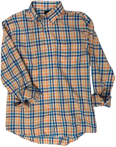LONG-SLEEVE BLUE/ORANGE CHECKERED COTTON BLEND