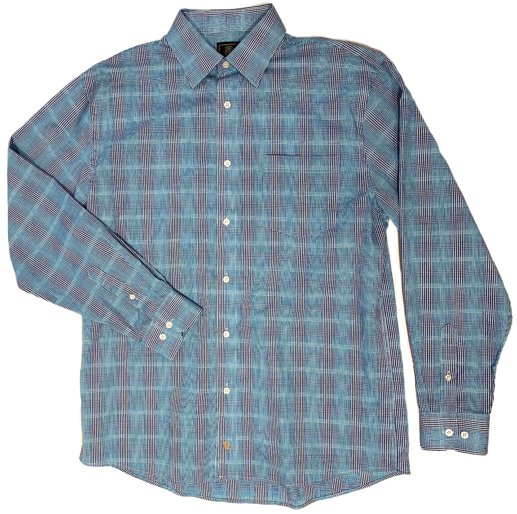 LONG-SLEEVED BLUE/PURPLE CHECKERED COTTON BLEND