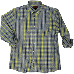 LONG-SLEEVED NEON YELLOW/BLUE CHECKERED COTTON BLEND