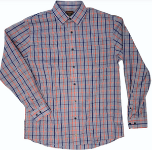 LONG-SLEEVE BLUE/NEON ORANGE CHECKERED COTTON BLEND