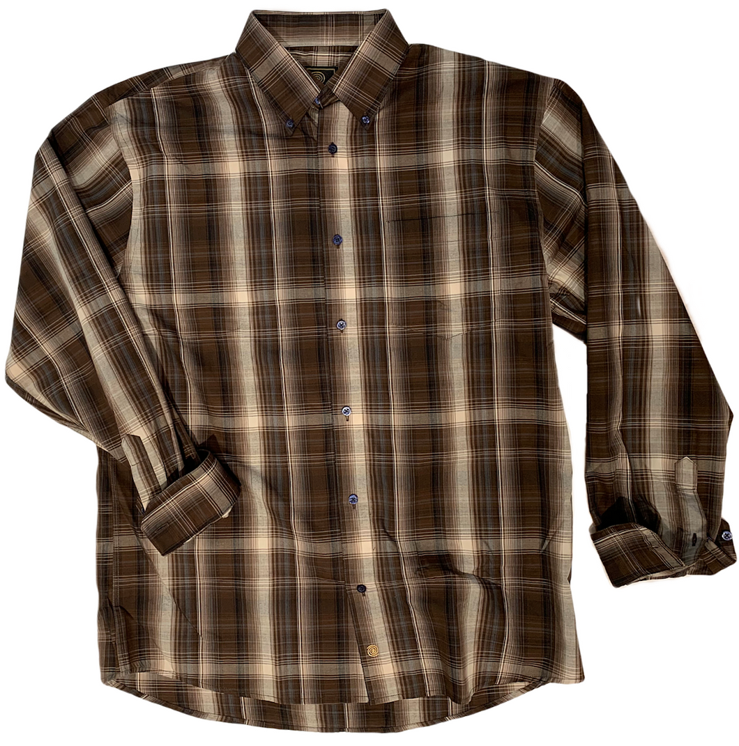 LONG-SLEEVE BROWN/TAN CHECKERED COTTON BLEND