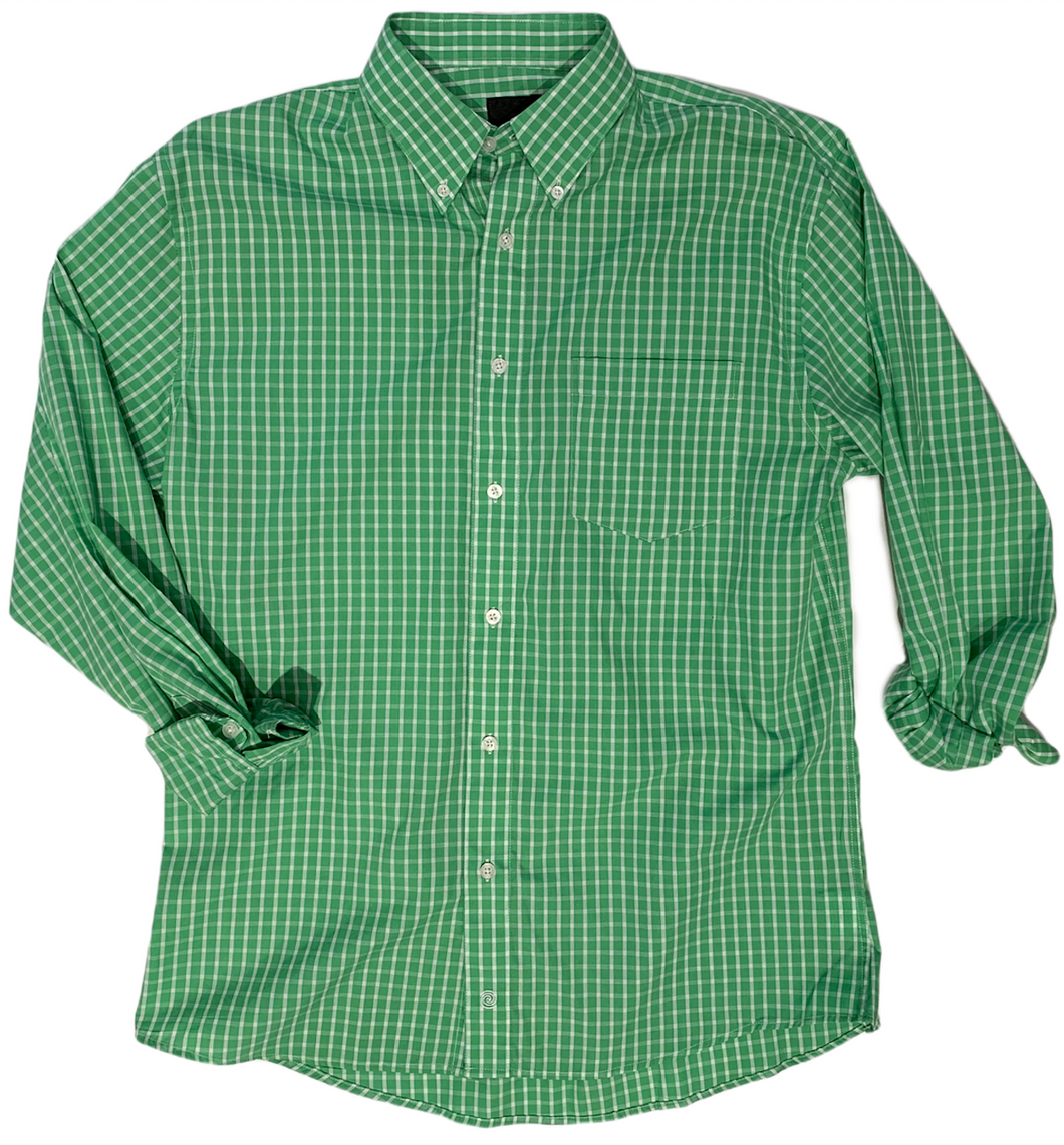 LONG-SLEEVE GREEN CHECKERED COTTON BLEND