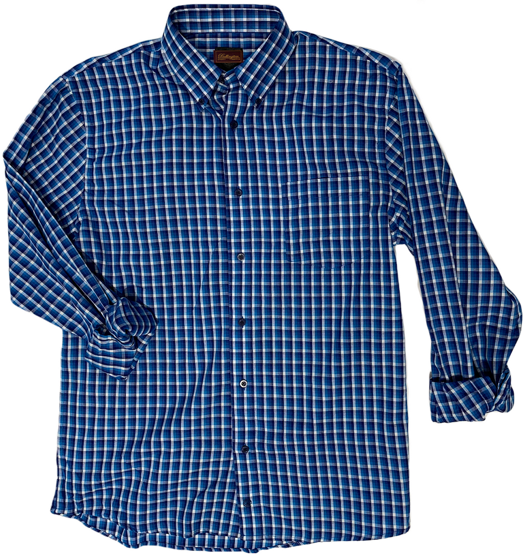 LONG-SLEEVE MULTI-BLUE CHECKERED COTTON BLEND