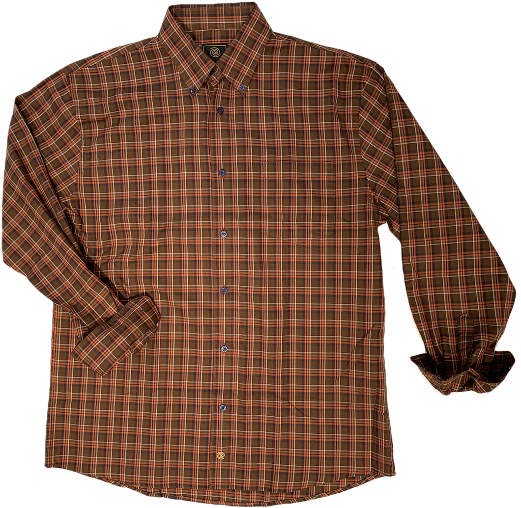 LONG-SLEEVE BURNT ORANGE CHECKERED COTTON BLEND