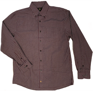 LONG-SLEEVE BURGUNDY CHECKERED COTTON BLEND