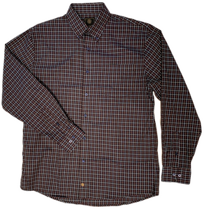 LONG-SLEEVE CHARCOAL/BURGUNDY/BLUE CHECKERED COTTON BLEND