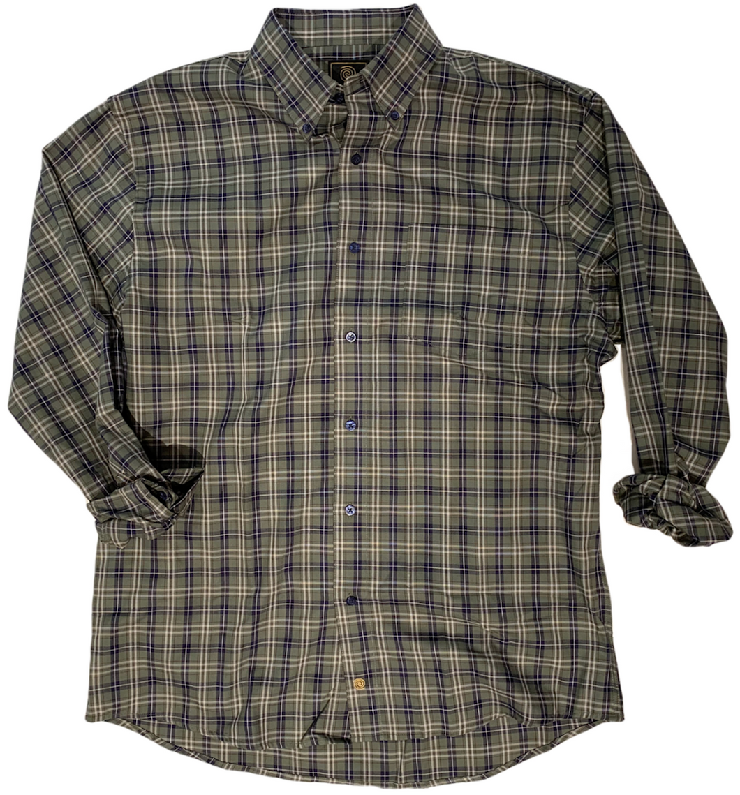 LONG-SLEEVE OLIVE CHECKERED COTTON BLEND