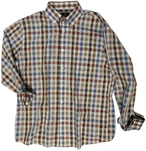 LONG-SLEEVE MULTI-COLOR CHECKERED COTTON BLEND