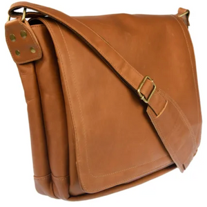 FOLD-OVER LEATHER MESSENGER BAG