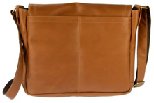 Load image into Gallery viewer, FOLD-OVER LEATHER MESSENGER BAG