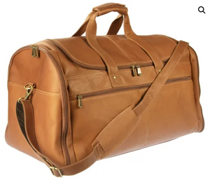 U-SHAPE ZIPPER TOP LOAD LEATHER DUFFLE BAG