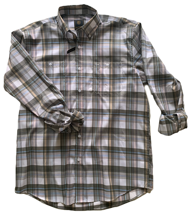 LONG-SLEEVE OLIVE/BLUE/TAN PLAID BUTTON DOWN