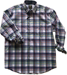 LONG-SLEEVE BLUE/YELLOW/SALMON BUTTON DOWN PLAID