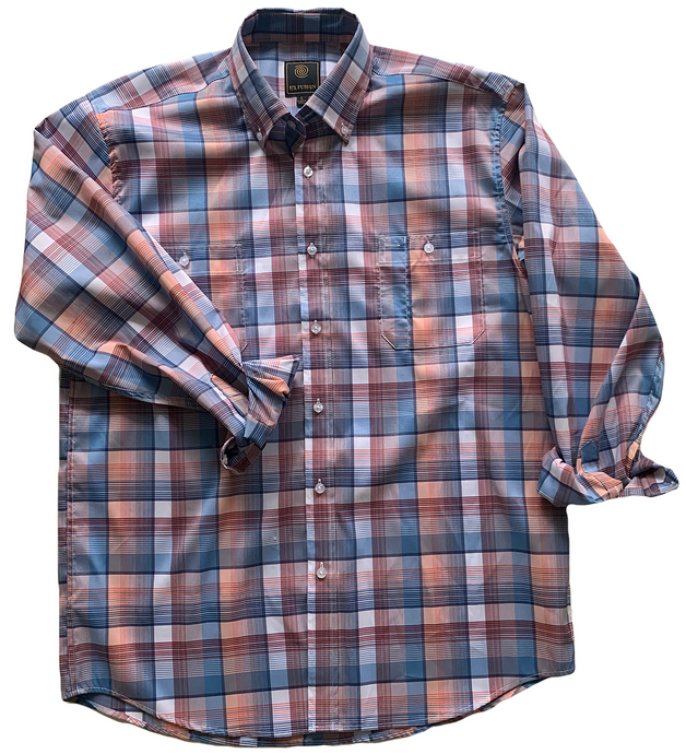LONG-SLEEVE BLUE/SALMON PLAID BUTTON DOWN