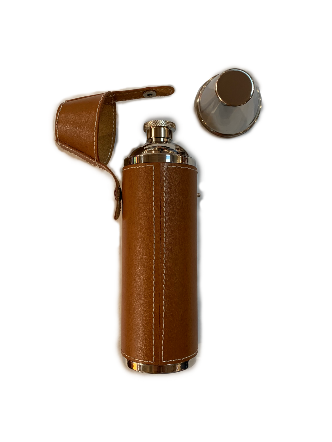 LEATHER COVERED TWO SHOT FLASK