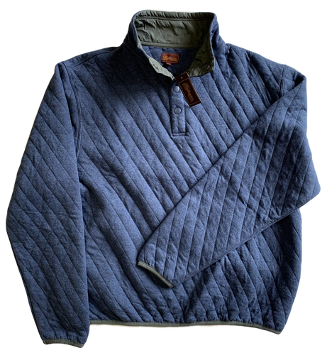 Blue Quilted Button Mock Sweatshirt