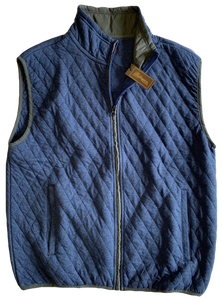 Blue Quilted Zip Mock Vest
