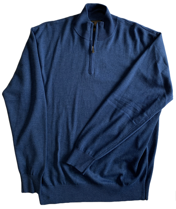 Blue Zip Mock Sweater