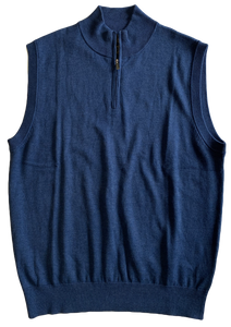 Blue Zip Mock Vest