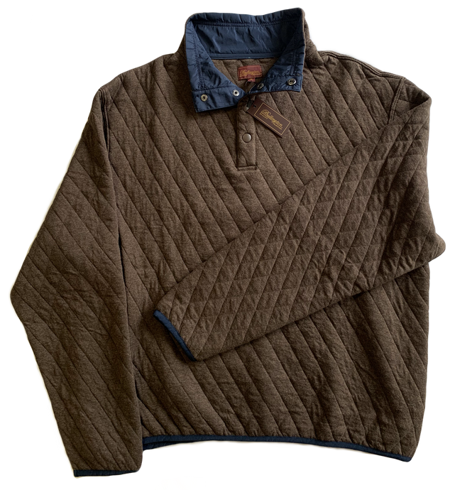 Brown Quilted Button Mock Sweatshirt