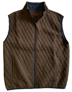 Brown Quilted Zip Mock Vest