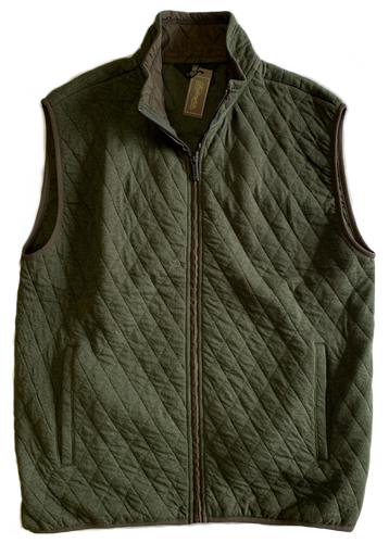 Moss Green Quilted Zip Mock Vest