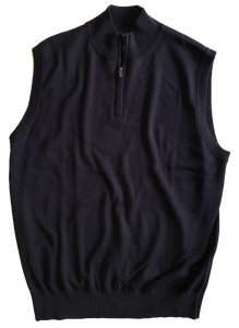 Navy Zip Mock Vest