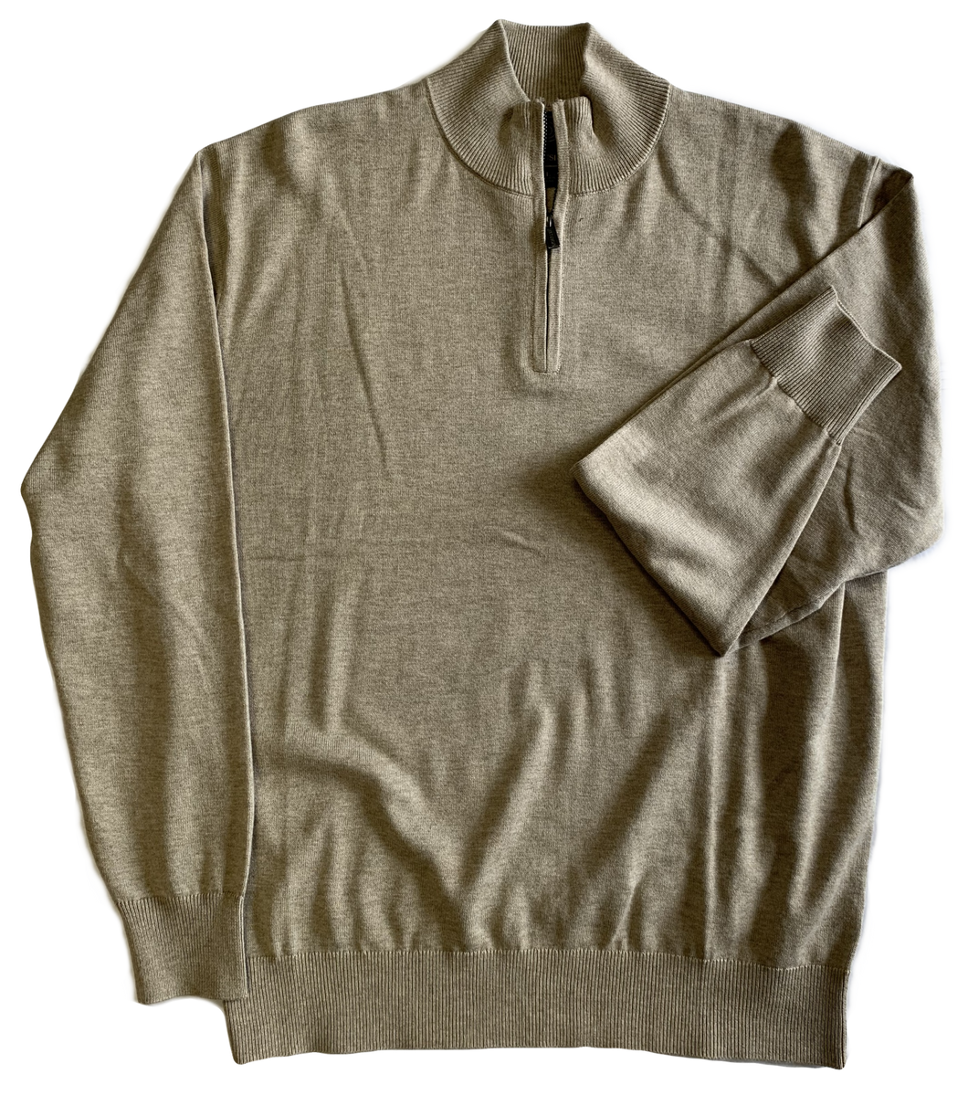 Oatmeal Zip Mock Sweater