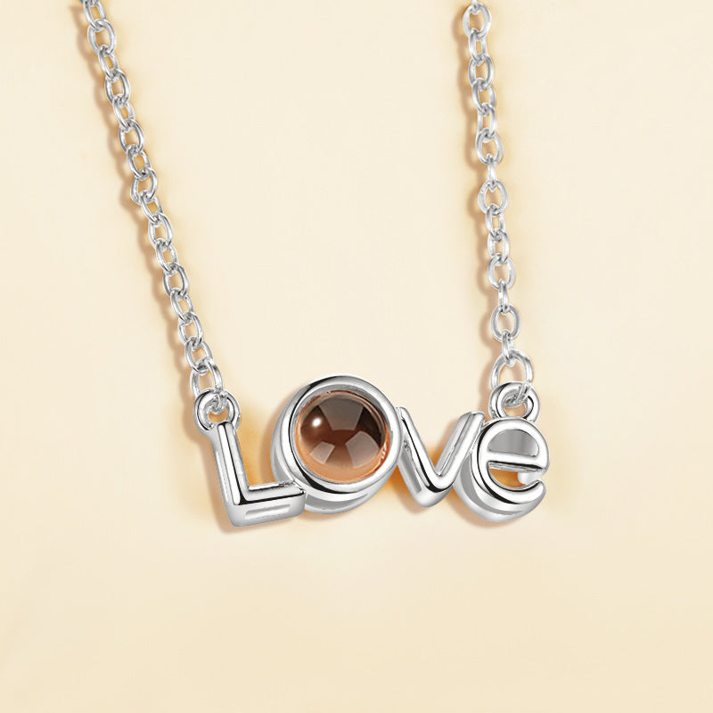 I love you 100 languages love memory projection necklace