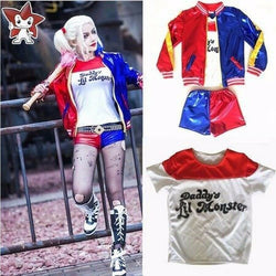 Kids Girls Suicide Squad Harley Quinn Coat Shorts Top Set Halloween COS Costume