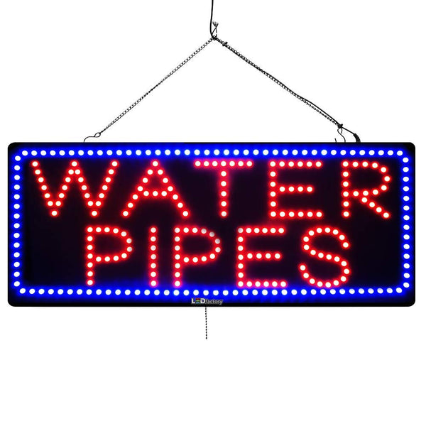 Large LED Window Sign - Water Pipes - 32 inches Wide - LED-Factory (#1009) - Led Open Signs