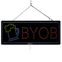 Large LED Window Sign - BYOB - 32 inches Wide - LED-Factory (#1856) - Led Open Signs