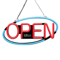 "LED NEON Open Sign - Oval Shape, Blinking Option, 8""X21"" Size, Blue/Red Color - Led Open Signs"