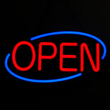 "Remote Controlled LED Neon Open Sign - Oval Shape, 8x21"" Size, Red - Blue Color (#3285) - Led Open Signs"