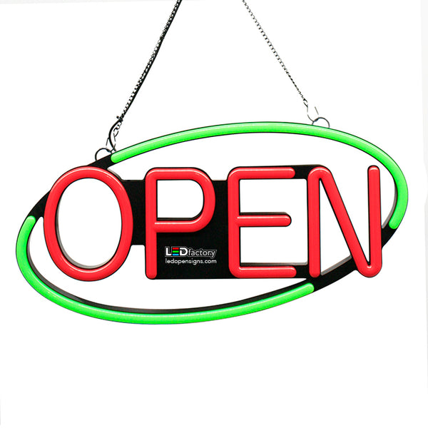 "LED NEON Open Sign - Oval Shape, Blinking Option, 8""X21"" Size, Green/Red Color - Led Open Signs"