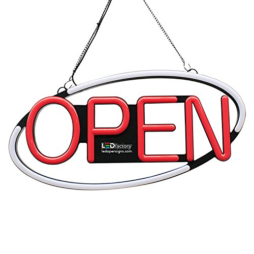 "LED NEON OPEN SIGN - Oval shape, blinking option, 8""X21"" size, White / Red color - Led Open Signs"